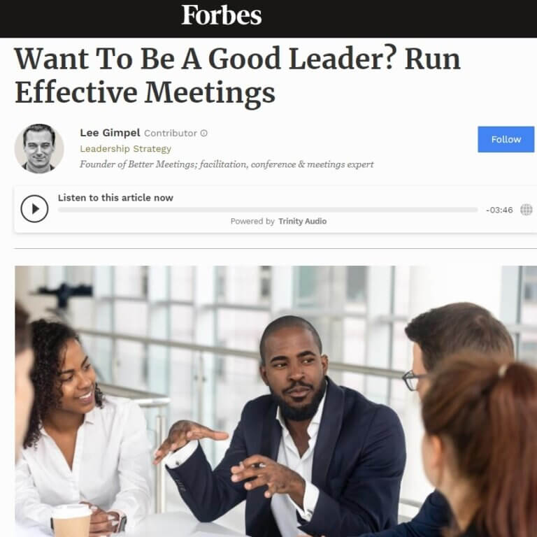 Read more about the article Want To Be A Good Leader? Run Effective Meetings