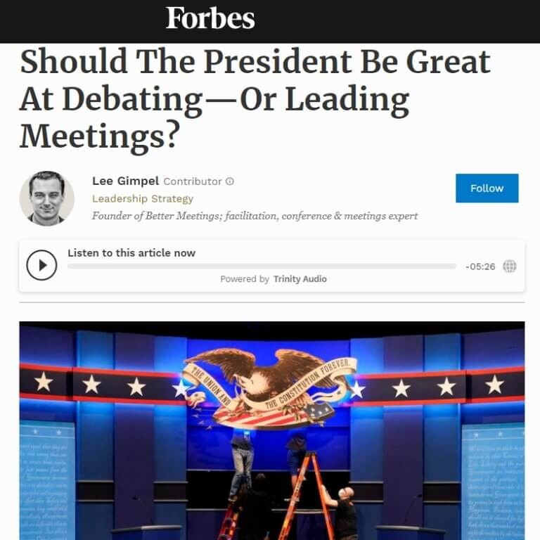 Read more about the article Should The President Be Great At Debating—Or Leading Meetings?