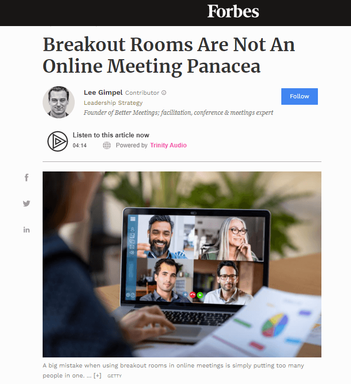 Read more about the article Breakout Rooms Are Not An Online Meeting Panacea