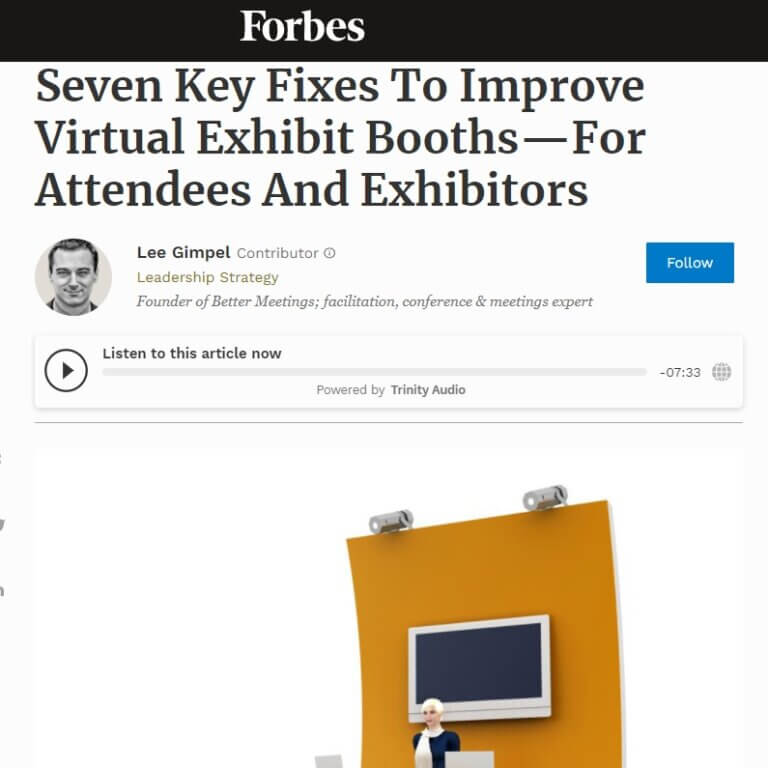 Read more about the article Seven Key Fixes To Improve Virtual Exhibit Booths—For Attendees And Exhibitors
